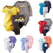 çocuk çocuk giyim, arabacılarla bebes set 3 adet, bodysuit ve pantolon, bebek kız ve erkek bebek, 6m-24m yılbaşı hediyesi(China (Mainland))