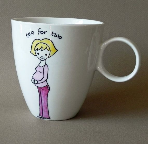 Pregnant Mom Personalized hand painted XL porcelain by PaintMyName, $35.00