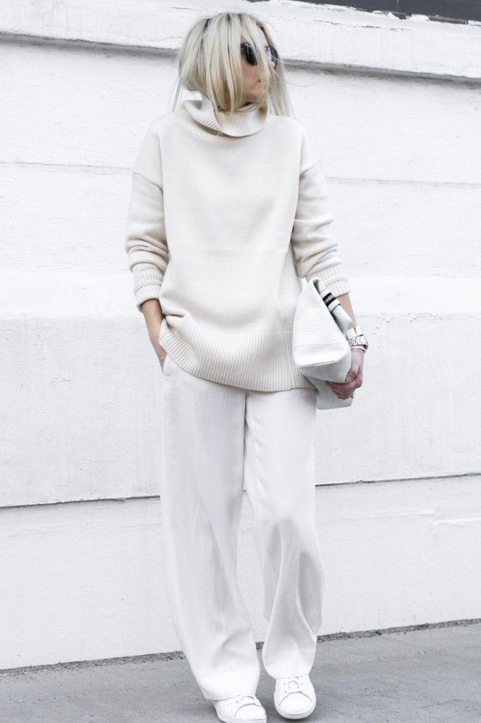 Chic Style - all white outfit with slouchy sweater & pants