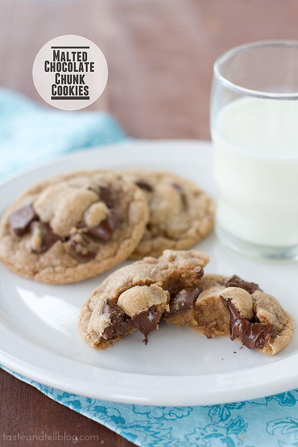 Malted Chocolate Chunk Cookies   www.tasteandtellblog.com