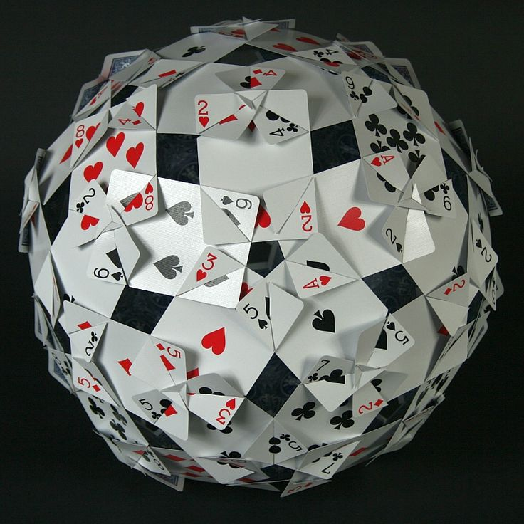 Card Constructions: This is an idea for a classroom activity to make a construction from 60 playing cards.  By George W. Hart.