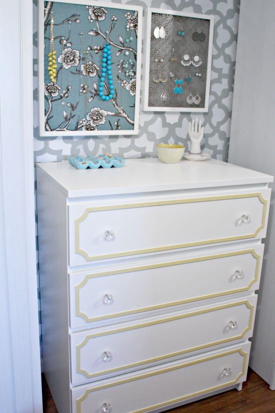 IKEA Dresser Makeover. And I love the jewelry display.