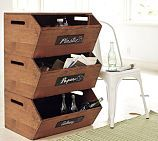 STACKABLE RECYCLE STORAGE adorable for indoor recycling bins!