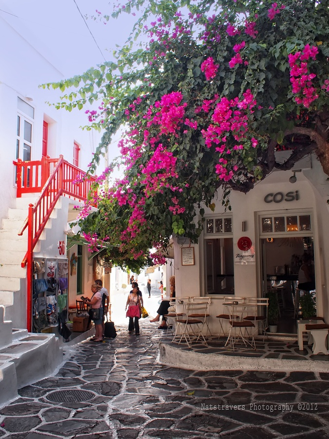 Mykonos Town is a captivating labyrinth that's home to chique boutiques and whiter-than-white houses decked with bougainvillea and geraniums