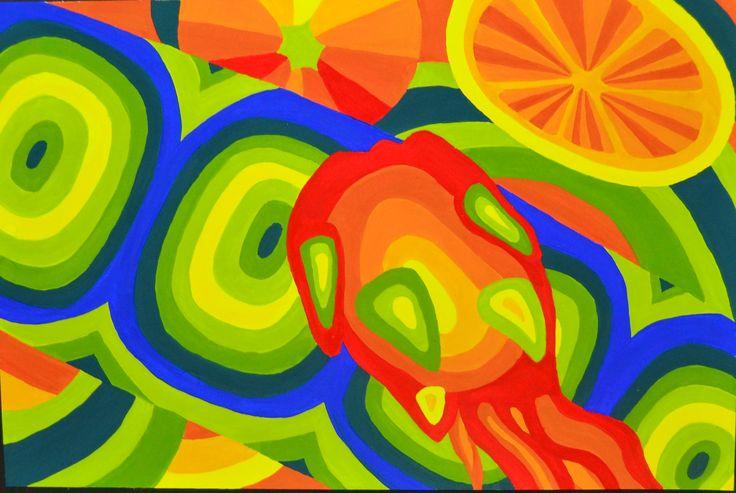 Dragonfruit, lemon, and petai composition_Gloria paper_Poster colour