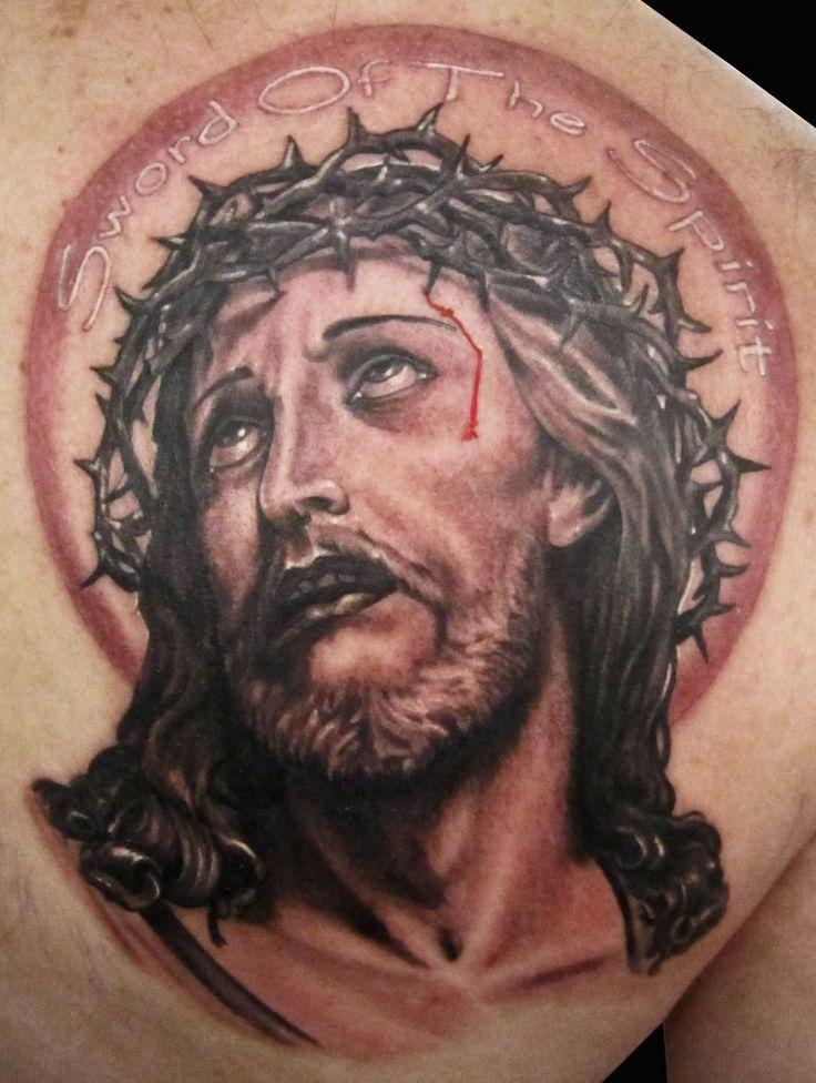 Jesus Portrait Tattoo Religious Tattoos Pinterest