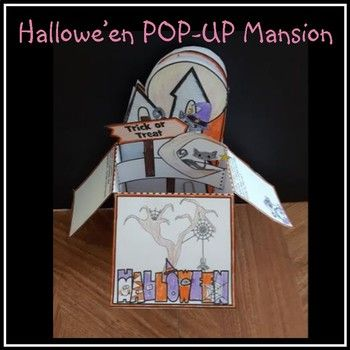 This is a great Hallowe'en Craft! Includes step-by-step instructions and templates needed to create a POP-UP Hallowe'en Mansion! I have included: - Mansion Front (3 options to choose from) - Mansion Rear (3 options to choose from) Each has a poem and writing activity. - templates for