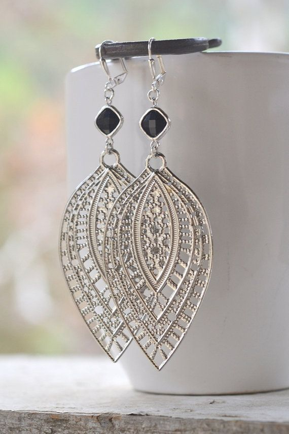 Super Big and Long Silver Filigree Teardrop Dangle Earrings with Black Jewels.  Big Silver and Black Statement Earrings. on Etsy, $27.50