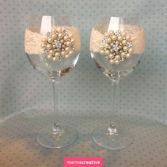 Pearl and Lace Wine Glasses