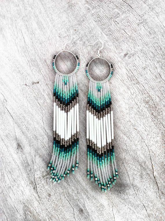 Long Fringe Beaded Earrings, Mint, Teal, White Shoulder Dusters, Long Seed Bead Earrings, Native American Inspired, Tribal, Southwestern