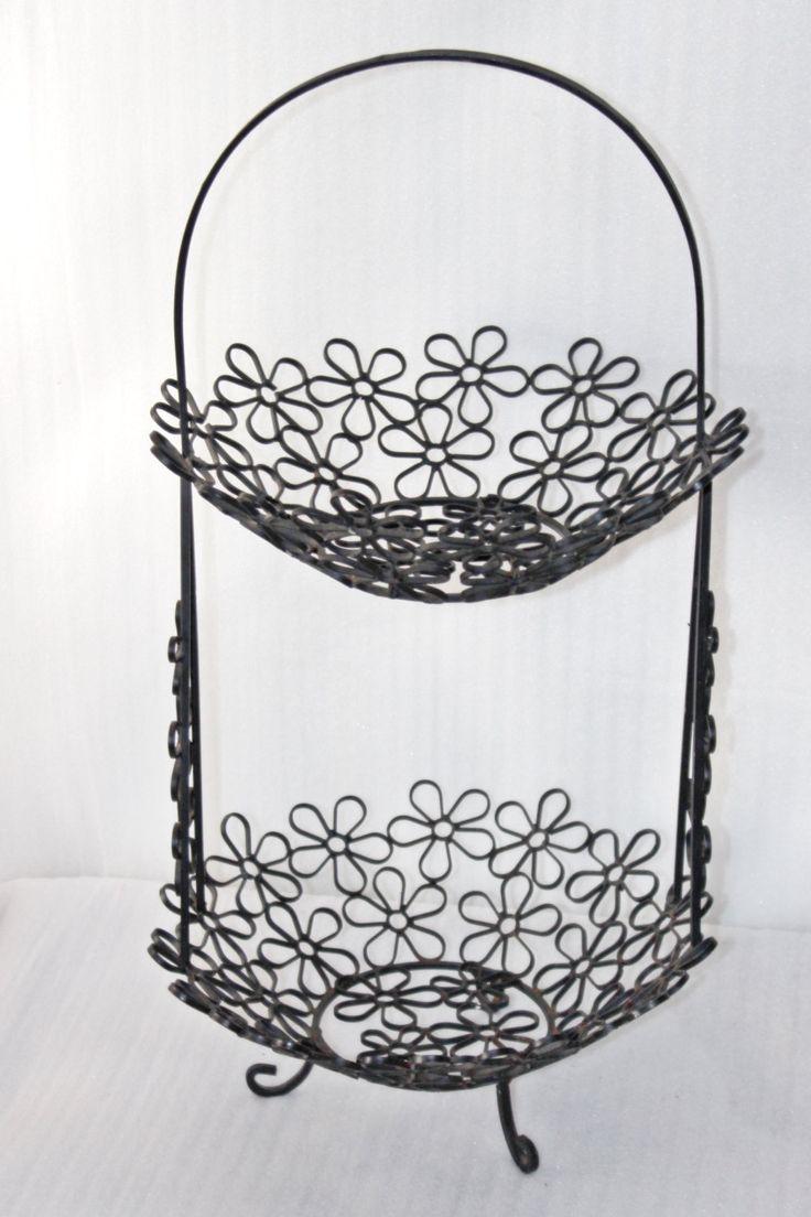 Vintage Flowers Wrought Iron 2 Tier Fruit Basket, Flower