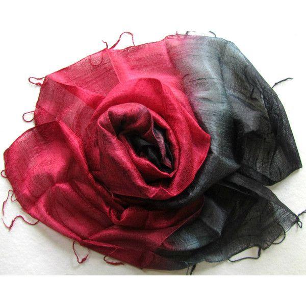 Silk Shawl Red Black Handwoven Silk Accessories Wedding Shawl Pure Raw Silk Hand Dyed Bridesmaid Gift For Her Handmade Accessories Thai Silk (€20) found on Polyvore featuring women's fashion, accessories, scarves, shawl, silk shawl, silk shawl red black handwoven silk accessories wedding shawl, red scarves, shawl scarves, silk scarves and pure silk scarves
