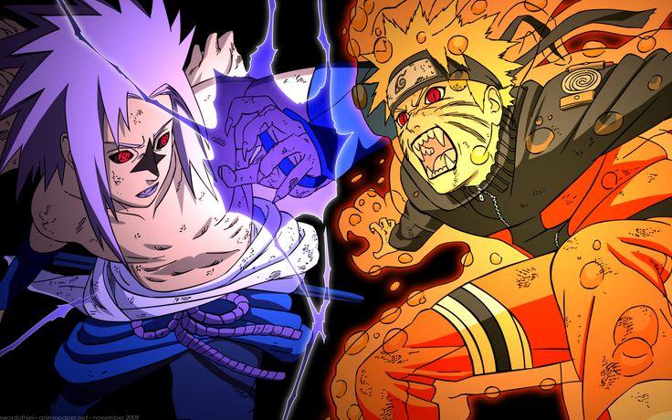 Naruto and sasuke fighting