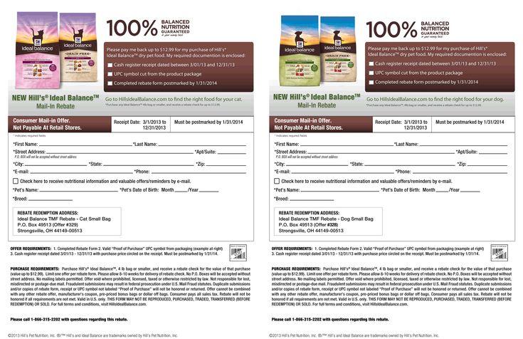 Pinned April 13th: Free $13 bag of Hills pet food via snail mail rebate coupon via The Coupons App