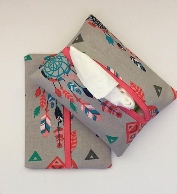 Dream Catcher Fabric Purse Tissue Holders, Handmade, Kleenex Holders, Tissue Cover, gift under 10, Purse Accessory, Southwest Dream Catchers