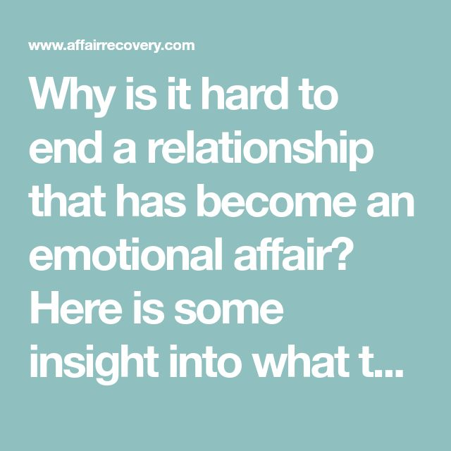 Can an emotional affair turn into a relationship