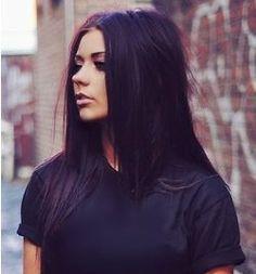 dark brown hair with a purple tint