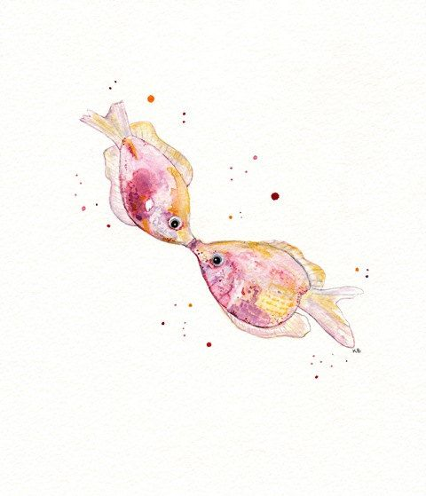Kissy/ Kissing Pink Fish/Watercolor Print by kellybermudez on Etsy, $19.00