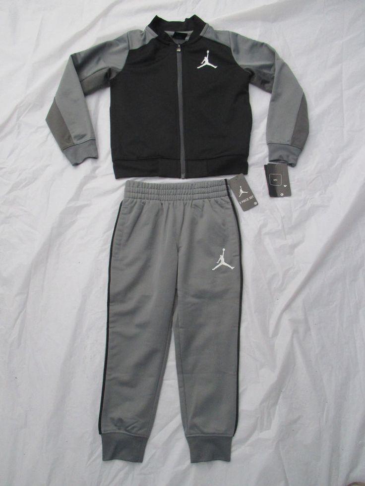 Nike Boys Michael Jordan Black Grey Tracksuit 2 Piece Set Sizes 4 & Up  854897