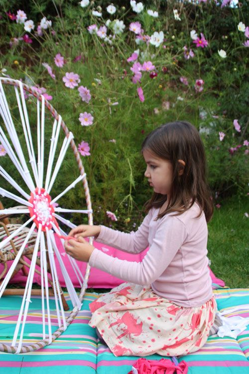 Hula Hoop Rag Rug. Great activity for children and parents to work on.