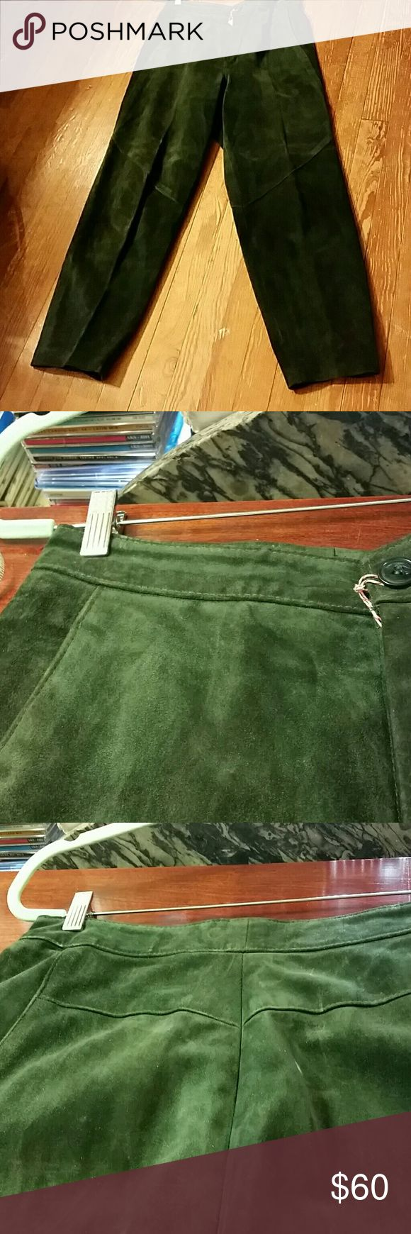 Yvette Marie Forest Green suede pants Heavier calf suede,  side pockets,  lined Pants Straight Leg