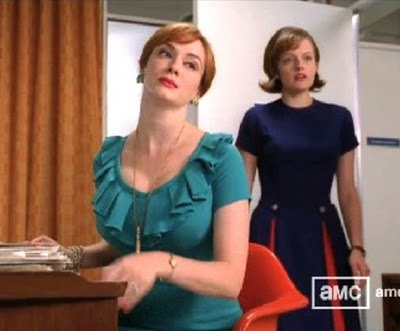I love the skirt on Peggy's dress, and Joan's top.: Peggy Blue, Skirts Tutorials, Madmen, Peggi Skirts, Peggi Blue, Mad Men'S, Dark Blue, Pleated Skirts, Red Skirts