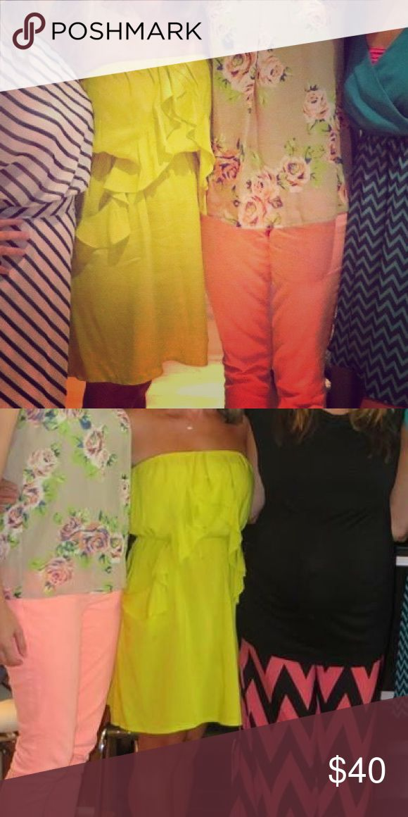 Yellow express dress Sassy great for summer neon yellow dress for sale Express Dresses Strapless