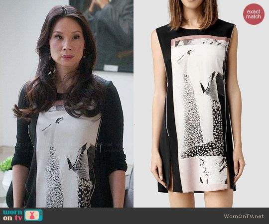 Joan's legs graphic print shift dress on Elementary.  Outfit Details: http://wornontv.net/45305/ #Elementary