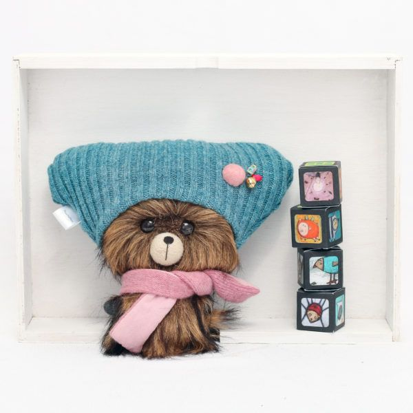 Dark brown, handmade teddy bear with big head.These adorable big-headed bears are designed to express love, appreciation and care. They tell more than a hundred words.