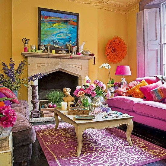 Bright yellow and pink living room | Living room decorating | 25 Beautiful Homes | Housetohome.co.uk