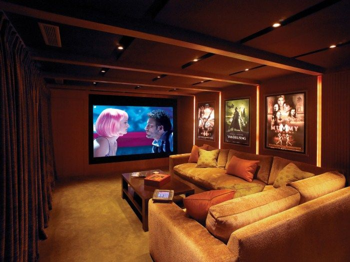 Home Theater Rooms Design Ideas room home love the home theater inside charlize theron s 3 8 Family Home Theater Room Design Ideas With Soft Lighting And Nice Design Ideas And With Comfort Teater Chair Some Theater Room Ideas That Should Always Be