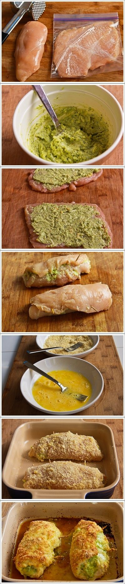 Recipe for Baked Chicken Stuffed with Pesto and Cheese & links to many other pesto recipes & recipes using pesto.