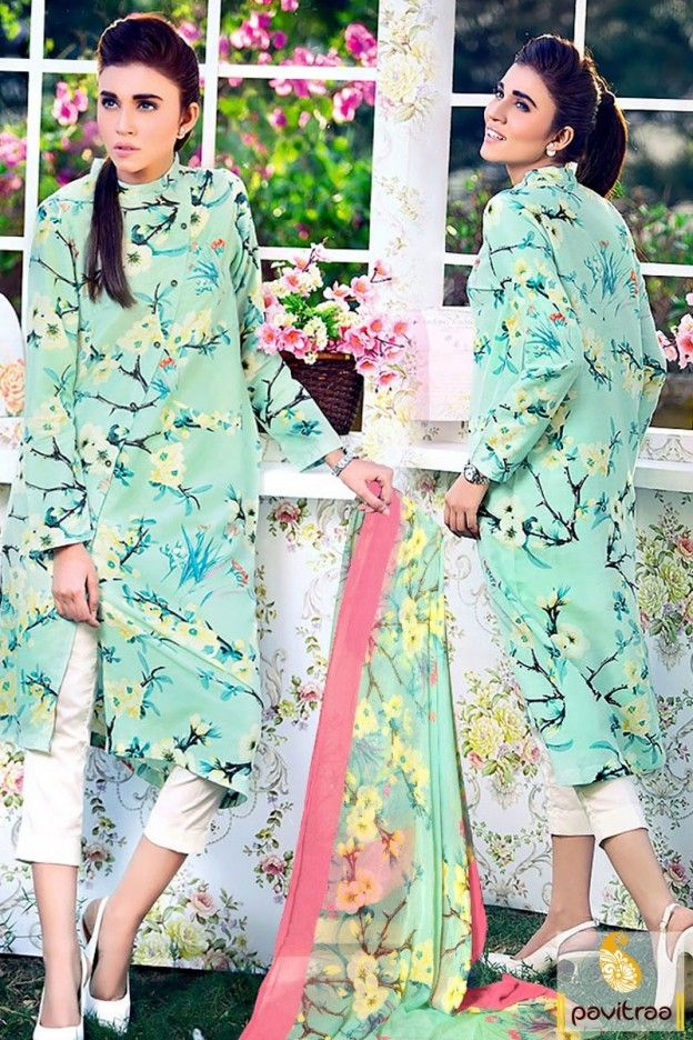 Latest western style teenagers girls special light sea green cotton latest pakistani kaftan designs online shopping collection with discount sale. This fancy college wear dress bedecked with print work. #kaftansuit #kaftansuitspakistani More : http://www.pavitraa.in/catalogs/pakistani-kaftan-dresses-online-india/