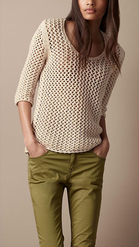 Burberry -   LATTICE KNIT COTTON SWEATER