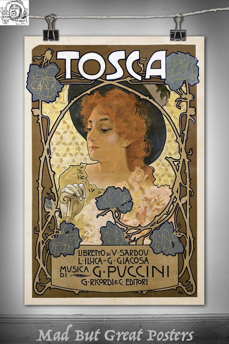 Tosca - Adolfo Hohenstein - Giacomo Puccini - première - Italian, poster, vintage, wall art, home decor, gift, print, theater lovers, deco by MadButGreatPosters on Etsy