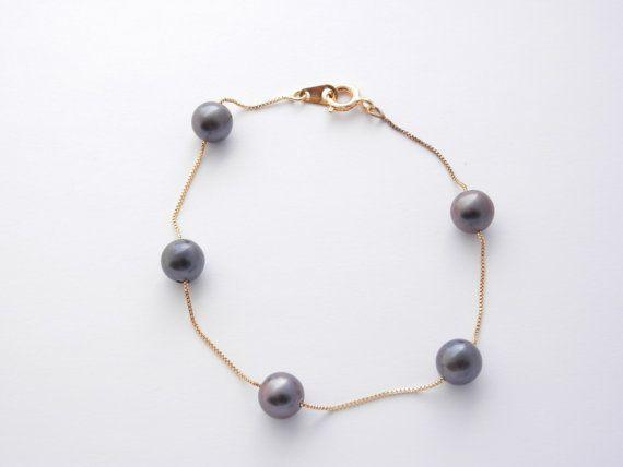 Pulsera de perlas negras-Pulsera de plata bañaba en por PearlDazzle
