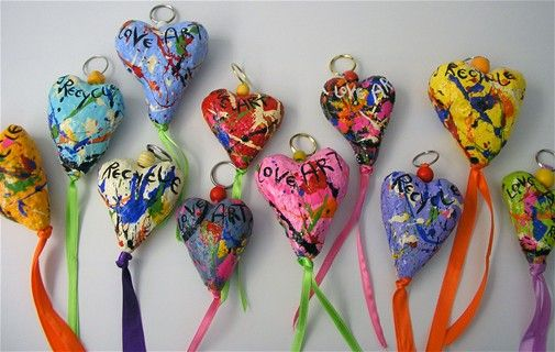 Paper mache Hearts for the rode-paper mache+mixed materials-7cm tall
