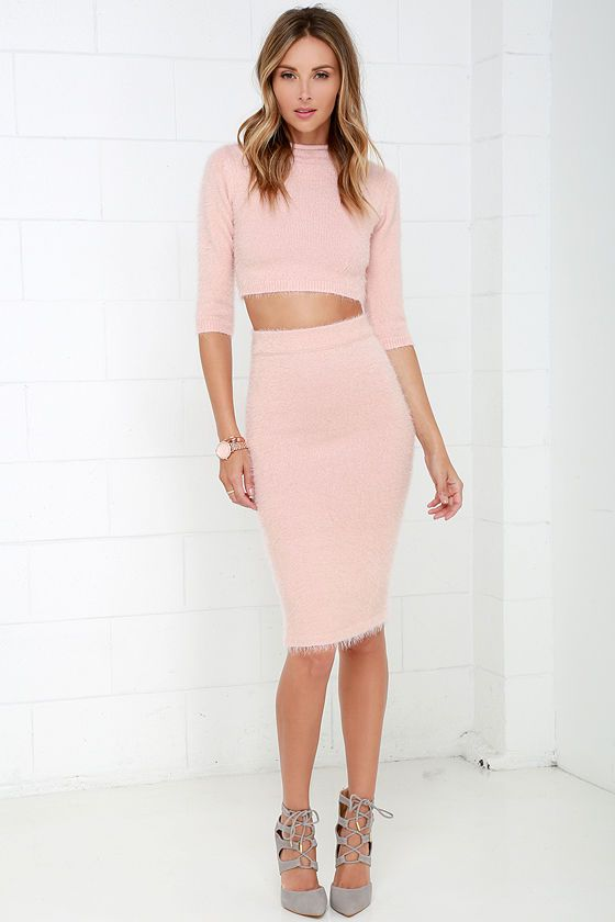 Software Update Fuzzy Blush Pink Two-Piece Sweater Dress at Lulus.com!