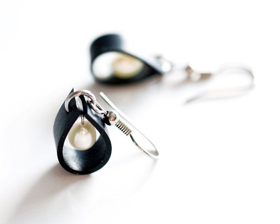 Mini black rubber bike inner tube raindrop earrings, handmade with upcycled rubber, white drop shape freshwater pearls and stainless steel