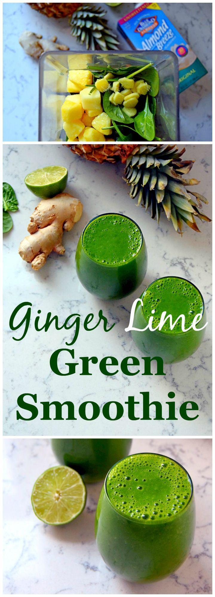 Ingrédients : 1 pc gingembre, 5cm ; 1/2 citron vert ; 3 tasses dés d'ananas, surgelés ; 4 tasses jeunes pousses épinards, bien remplies ; 2 tasses lait d'amandes sans sucre