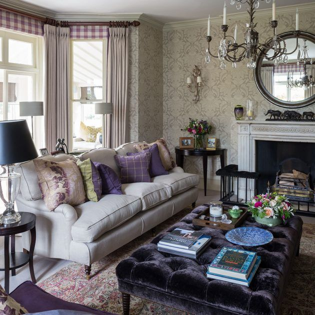 Grey And Heather Living Room With Tactile Fabrics And Subtle Patterns Purple Living Room Living Room Diy Traditional Living Room