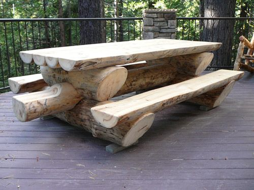 Massive log picnic table, Like to see someone steal this one !
