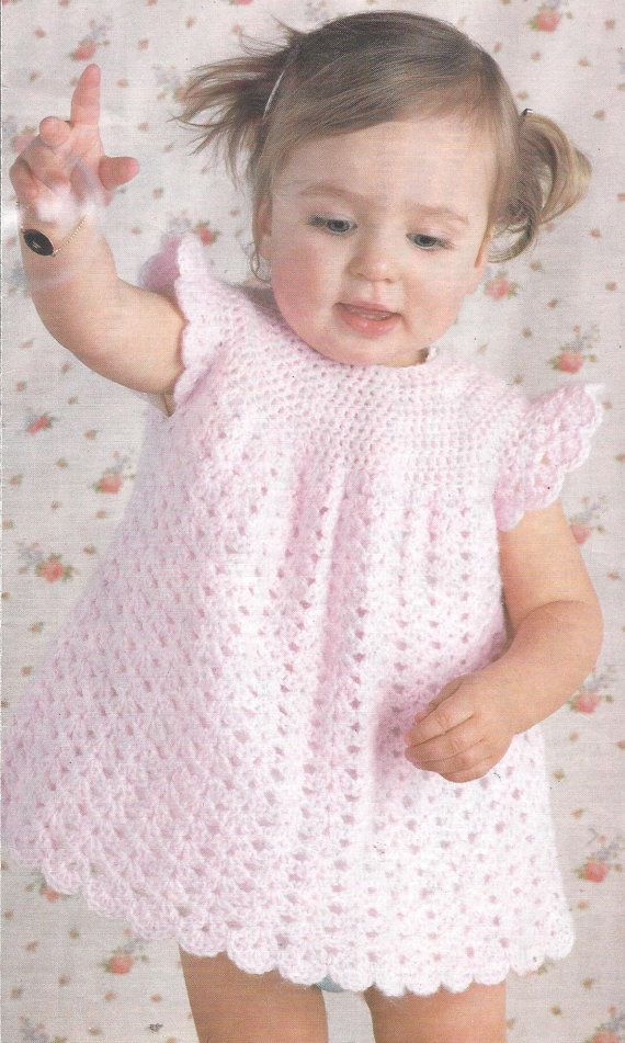Easy Quick Crochet Pattern Baby Infant Toddler Adorable Dress in DK szs 3- 18 months PDF, 3.99$ pattern