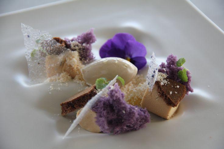 Fine dining - caramel bavaroise, licorice mousse, violets, caramel powder, lemon cream, nougat, salted licorice sorbet