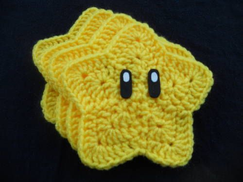 Mario Super Star Coasters! - CROCHET