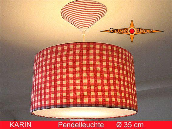 leuchte karin 35 cm pendellampe mit diffusor und baldachin rot kariert ein ort um sich. Black Bedroom Furniture Sets. Home Design Ideas