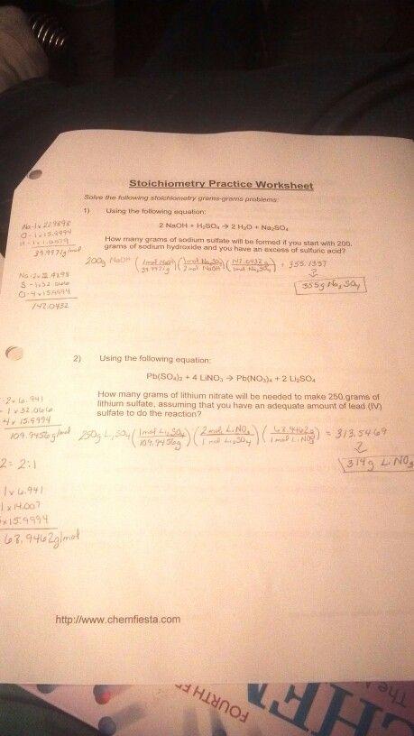 do my stoichiometry homework