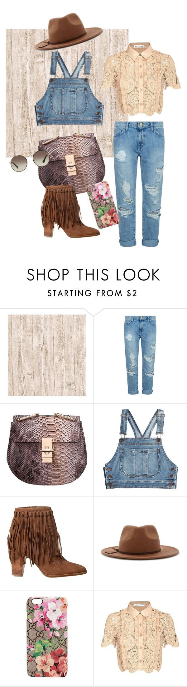 """""""Trendy Farmer"""" by slang-bait on Polyvore featuring Current/Elliott, Moschino, Ralph Lauren, Forever 21, Gucci, self-portrait and Prada"""