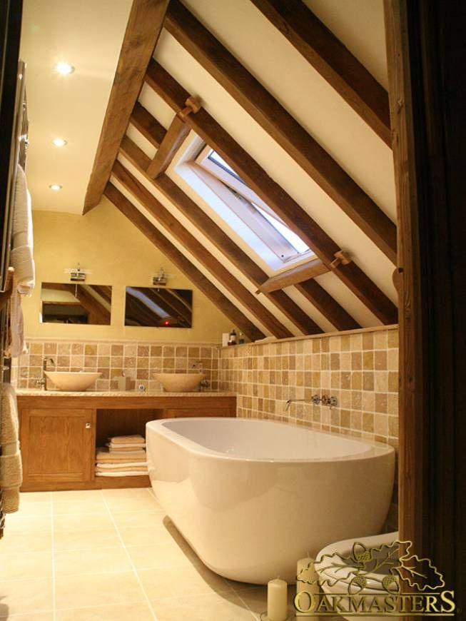 Oak framed ceiling. Oak beams and rafters used to add warmth to this bathroom. #Oakmasters
