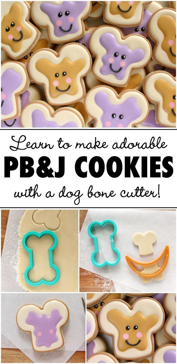 Cómo hacer adorables PB & J galletas con un cortador de hueso de perro a través Sweetsugarbelle.com